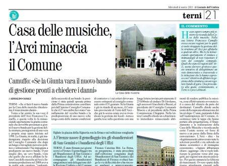 CASA DELLE MUSICHE, L'ARCI MINACCIA IL COMUNE